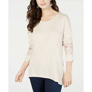 Style & Co Tunic Embroidered Beige L New